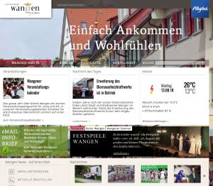 Image der Internetseite der Stadt Wangen im Allgäu
